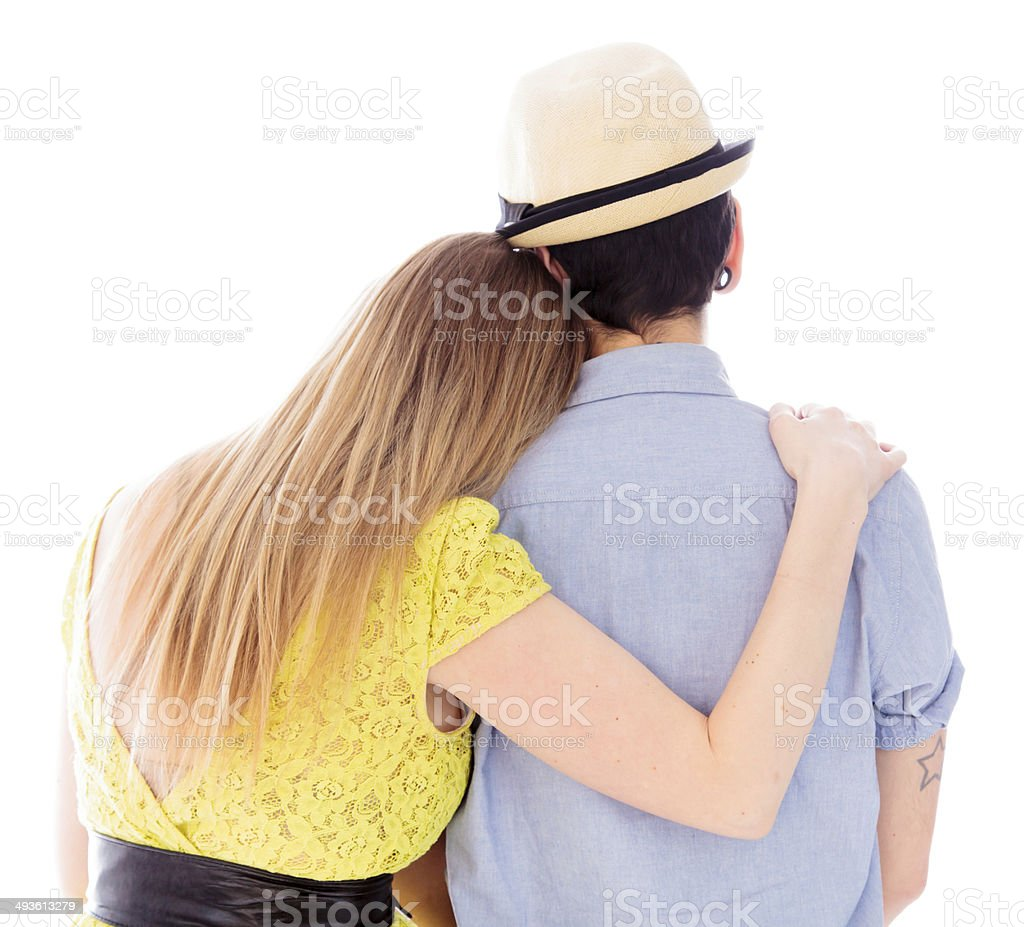 Rear view of a lesbian couple romancing stock photo
