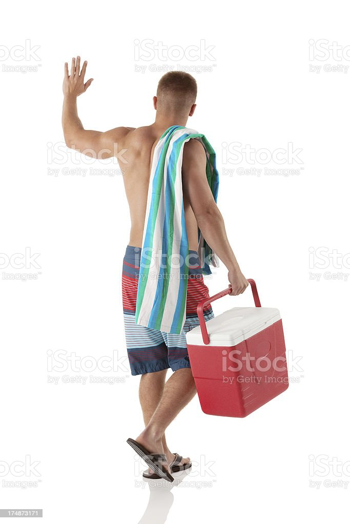 Rear view of a man out for picnic royalty-free stock photo