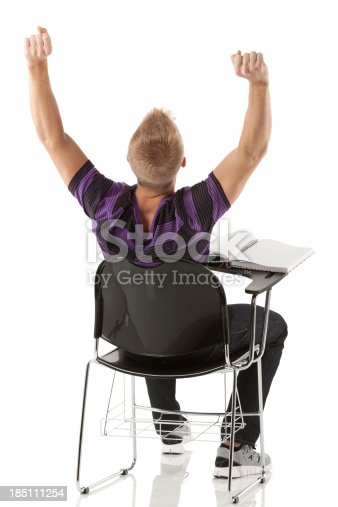 istock Rear view of a man sitting in an armchair 185111254