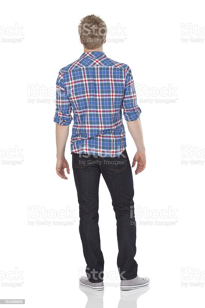 Rear view of a man standing stok fotoğrafı