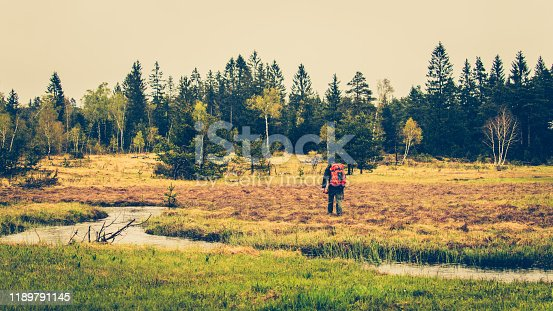Rear view of a survivalist man with a backpack walking across a meadow with a river in a forest.