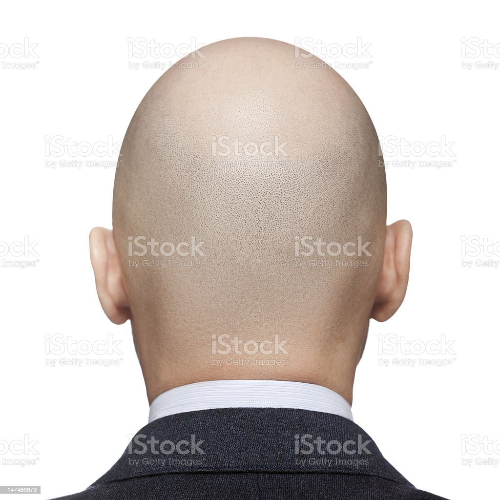 A rear view of a mans bald head stock photo