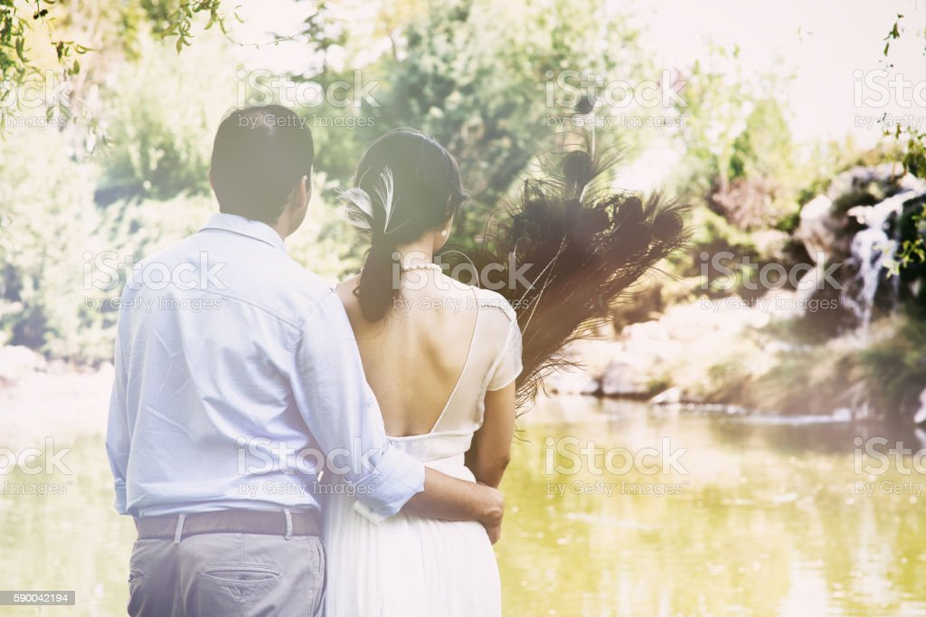 Rear view of a newlywed couple watching the lake