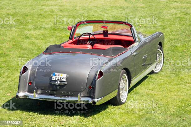 Rear view of a rare French 1957 Facel Vega 6 HC Cabrio at Classic Days, Schloss Dyck, Germany.