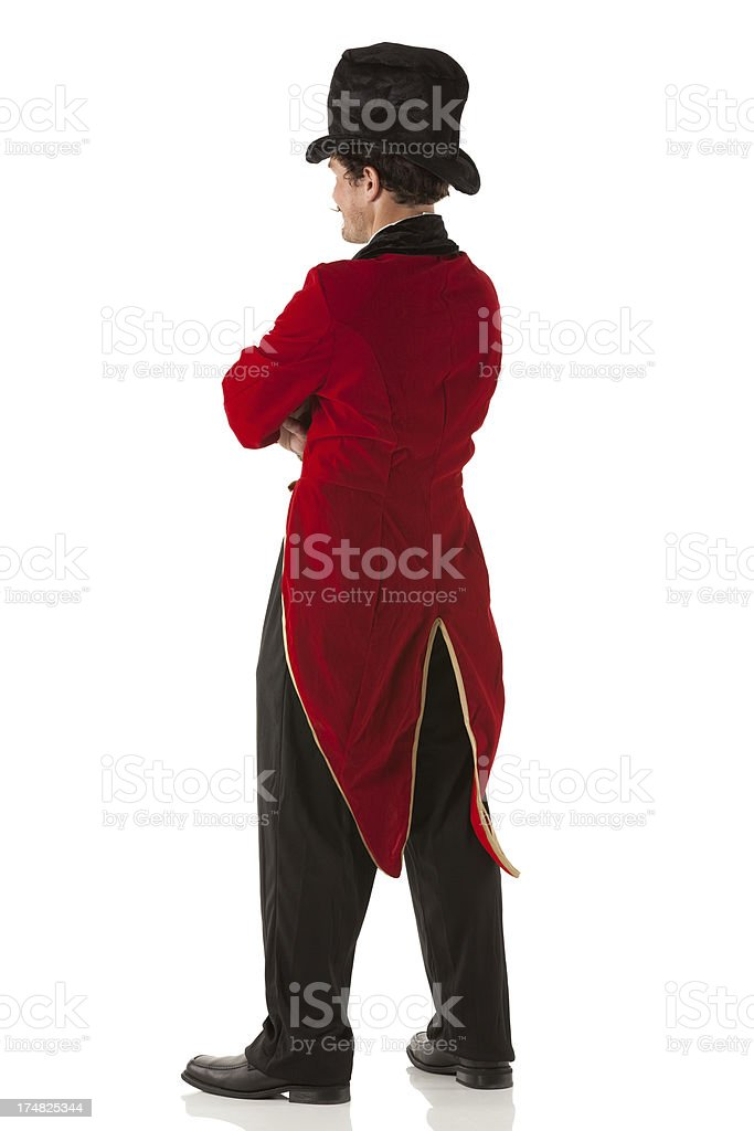 Rear view of a ringmaster stock photo