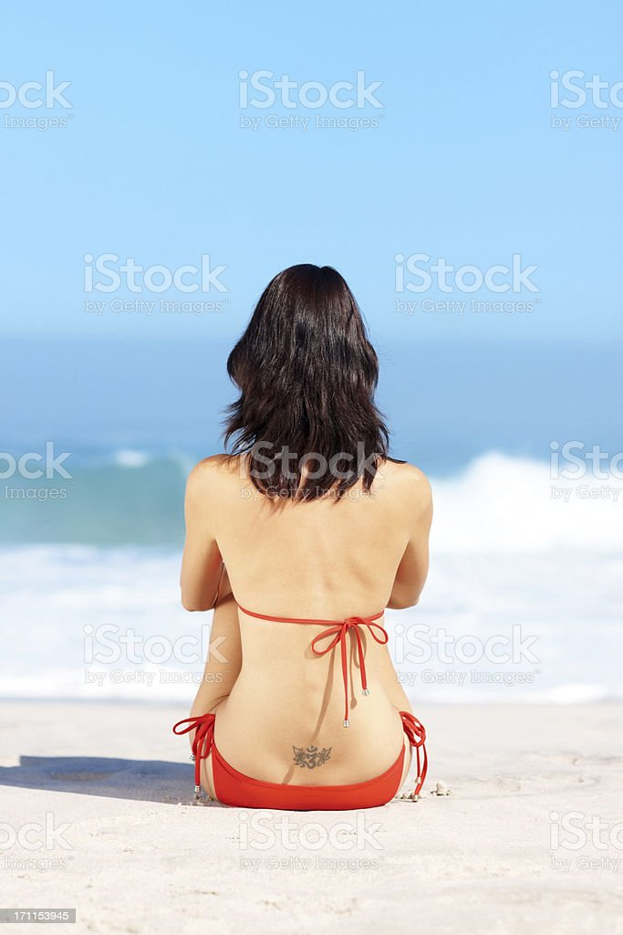 Rear view of a sexy young female sitting on the seashore