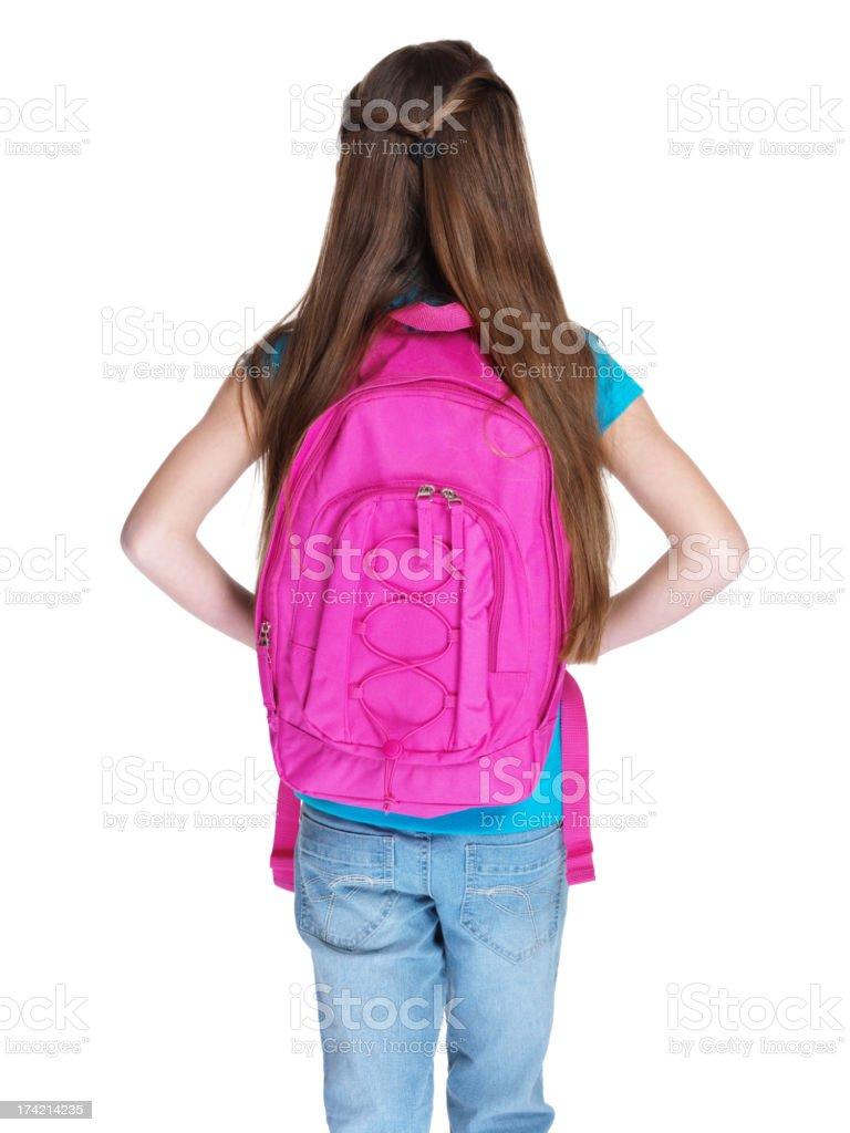Widok z tyłu Mała dziewczynka stojący z schoolbag – zdjęcie