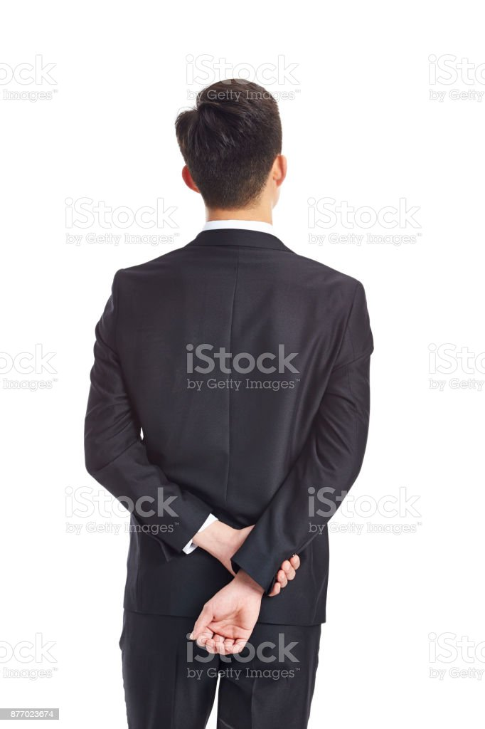rear view of a thinking asian business man stock photo
