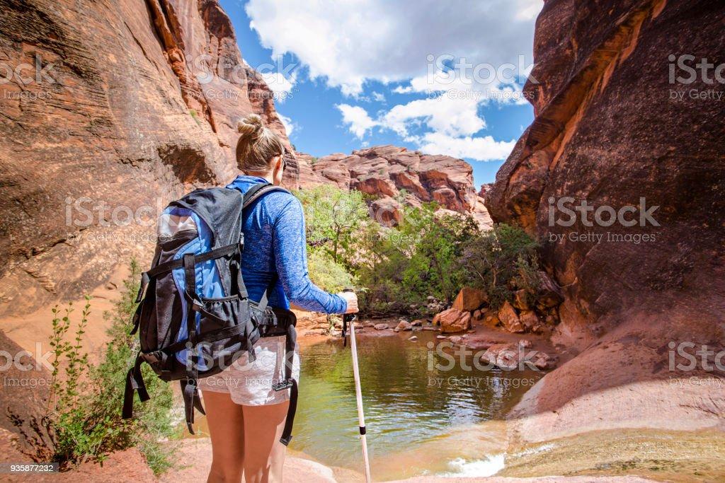 Achteraanzicht van een vrouw wandelen naar een waterval in een red rock canyon - Royalty-free Achter Stockfoto