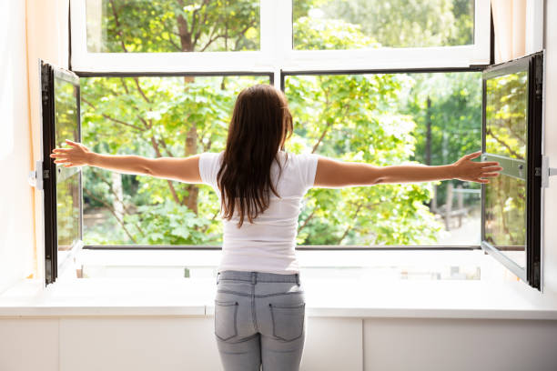 rear view of a woman outstretching her arms - open window imagens e fotografias de stock