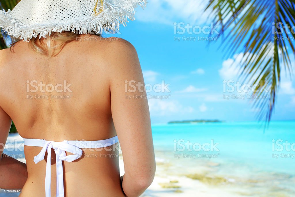 Rear view of a young woman standing on the beach. royalty-free stock photo