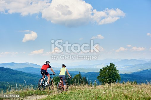 istock Rear view of active couple bikers in professional sportswear riding cross country bicycles down 960148714