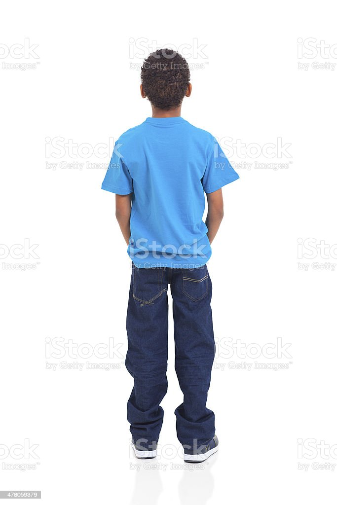 Rear view of African American boy on white stock photo