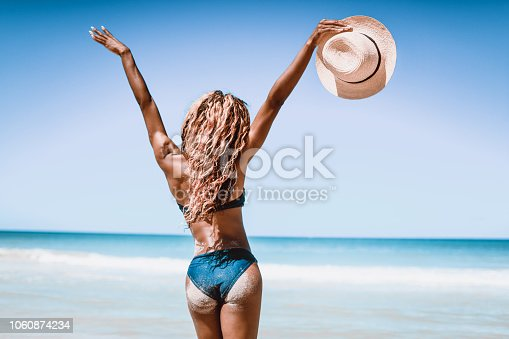 Rear View Of African American Female With Arms Raised On The Cuban Beach