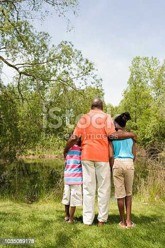 istock Rear view of African grandfather and grandchildren hugging in park 1035089178