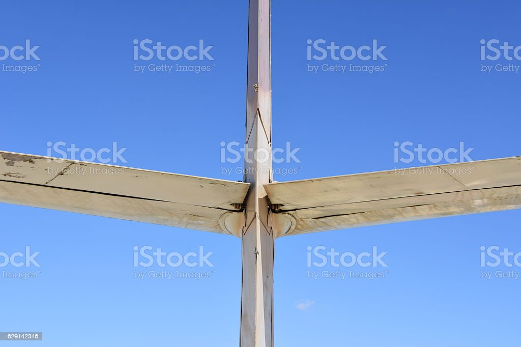 Rear view of airplane's tail stock photo