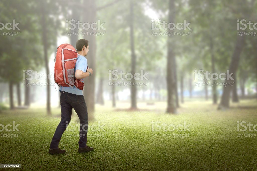 Rear view of asian traveler going explore - Royalty-free Adult Stock Photo