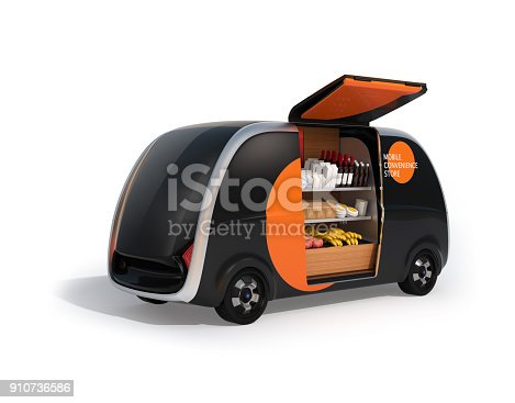 istock Rear view of autonomous vending car with side door opened 910736586