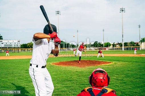 Rear view of Hispanic baseball player waiting in batting stance and watching the pitcher's delivery of the ball.