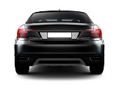 Rear view of black car