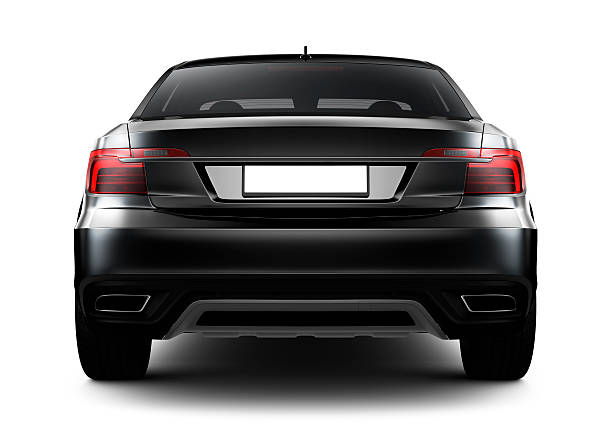 rear view of black car - rear view stock photos and pictures