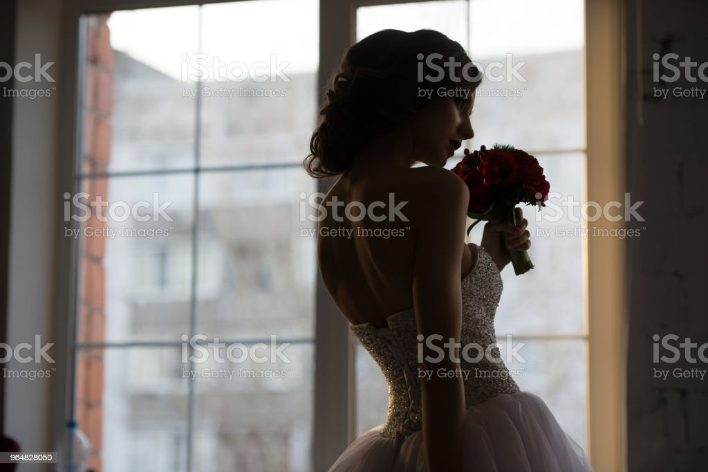 rear view of bride silhouette near the window smells the red flowers royalty-free stock photo
