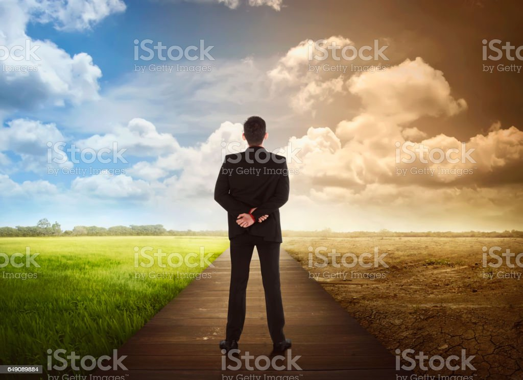 Rear view of business man standing between the changing environment stock photo