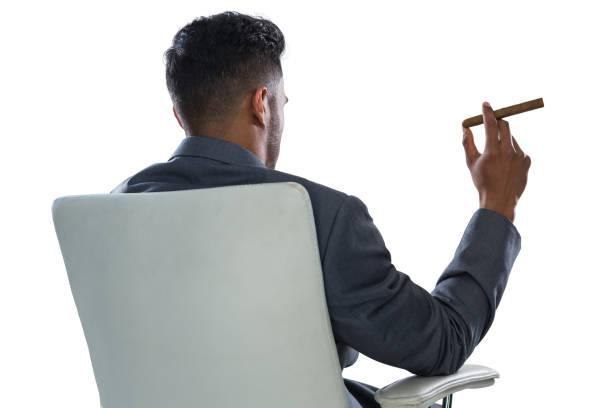 achteraanzicht van zakenman holding sigaar - guy with cigar stockfoto's en -beelden