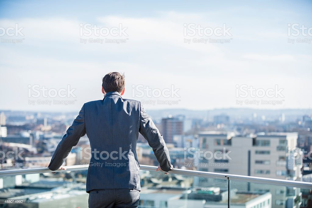 Rear view of businessman looking at city skyline stock photo