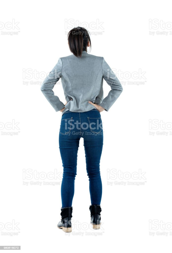 Rear view of businesswoman standing stock photo