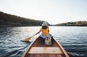 istock Rear view of canoeist girl 1176100850