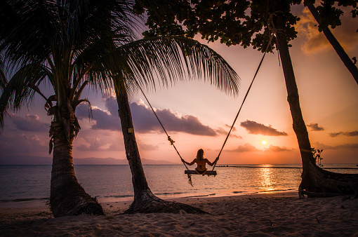 Rear view of carefree woman swinging at sunset beach.