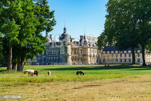 istock Rear view of Chateau de Chantilly with horses in the foreground - France 1301135248