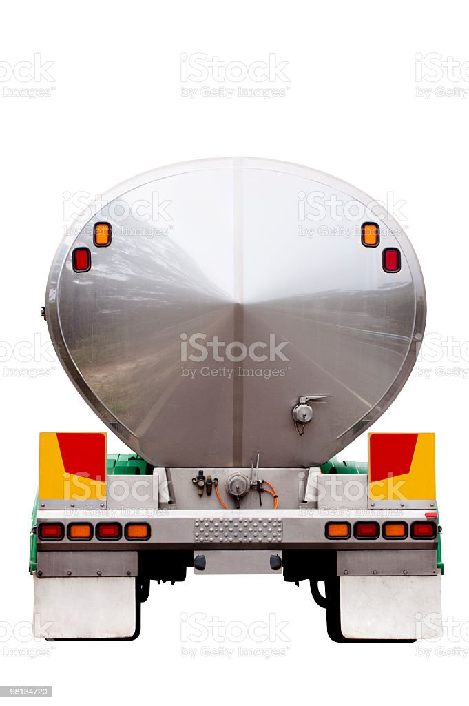 Rear view of chrome tanker container isolated on white background royalty-free stock photo