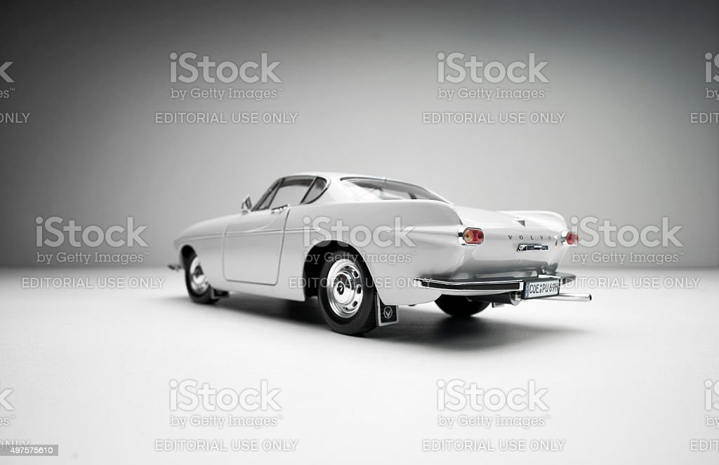 Rear View Of Classic Volvo 1800S Model Car stock photo
