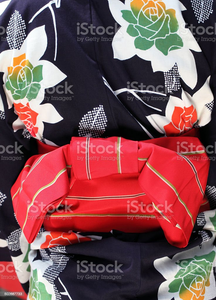 Rear view of clothes of kimono stock photo