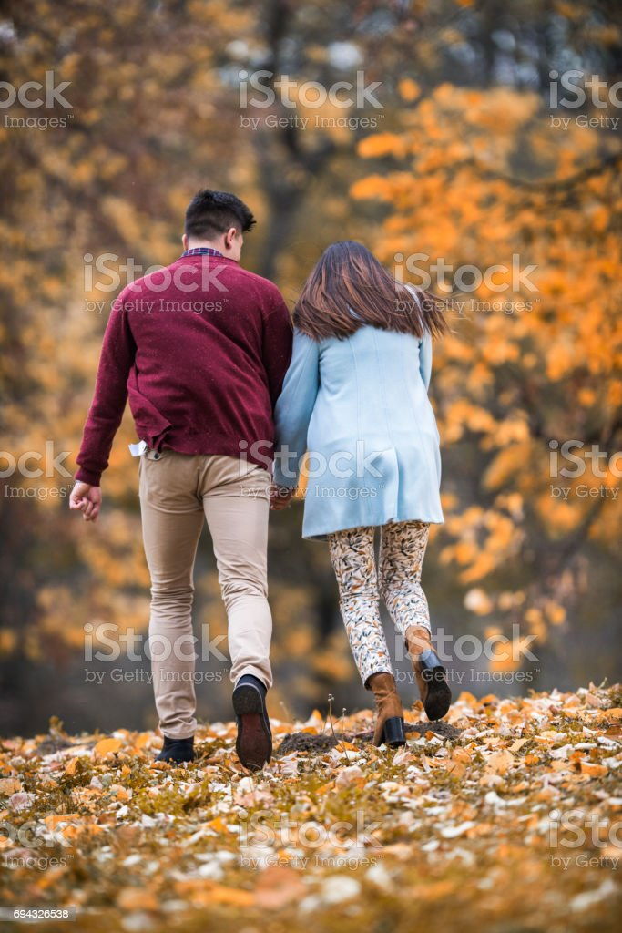 Rear view of couple holding hands and running in autumn. stock photo