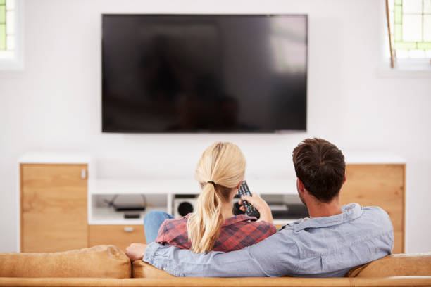 Rear View Of Couple Watching Television Together stock photo