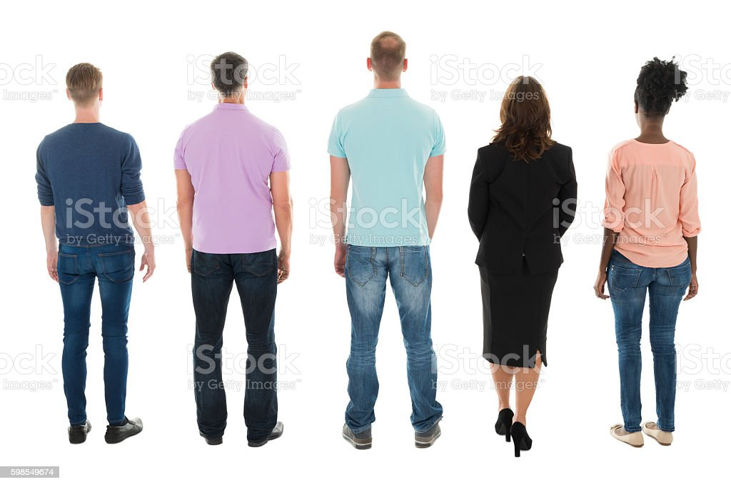 Rear View Of Creative Business People Standing With Manager stock photo