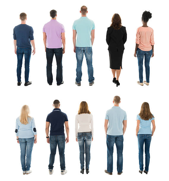 rear view of creative people standing in row - être debout photos et images de collection