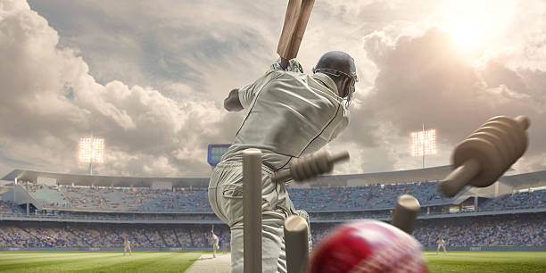 rear view of cricket ball hitting stumps behind batsman - cricket stock photos and pictures