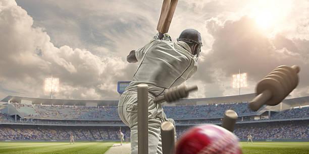 rückansicht des kricket ball schlagen stümpfe hinter dem schlagmann - cricket stock-fotos und bilder