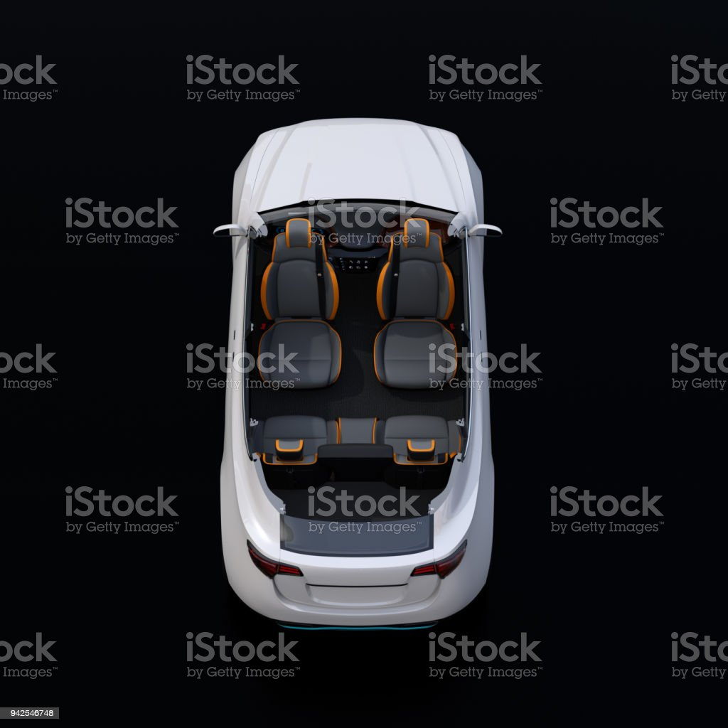 Rear view of cutaway white self-driving Electric SUV car on black background stock photo