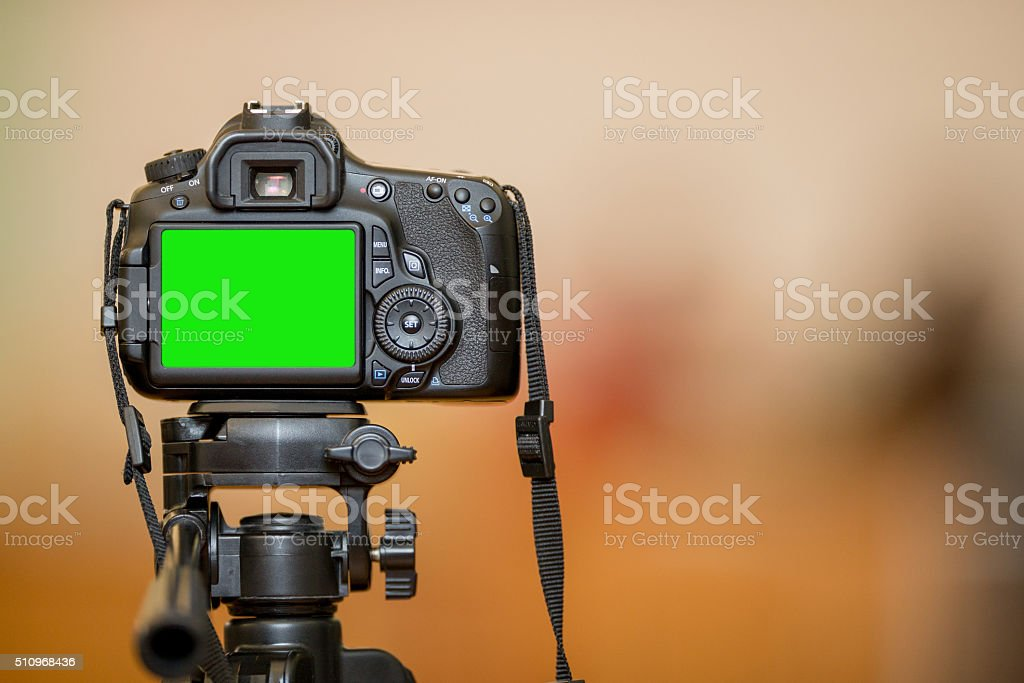 Rear View of Digital Camera, Green, Blank, Copy Space stock photo