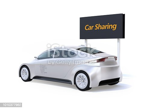 istock Rear view of electric car and car sharing billboard isolated on white background 1010377952