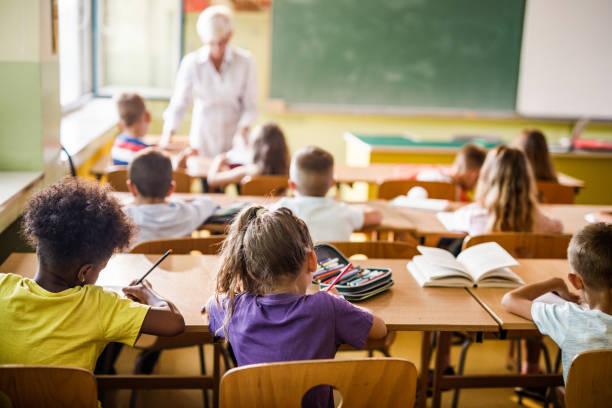 vista trasera de los estudiantes de primaria que asisten a una clase en el aula. - escuela primaria fotografías e imágenes de stock