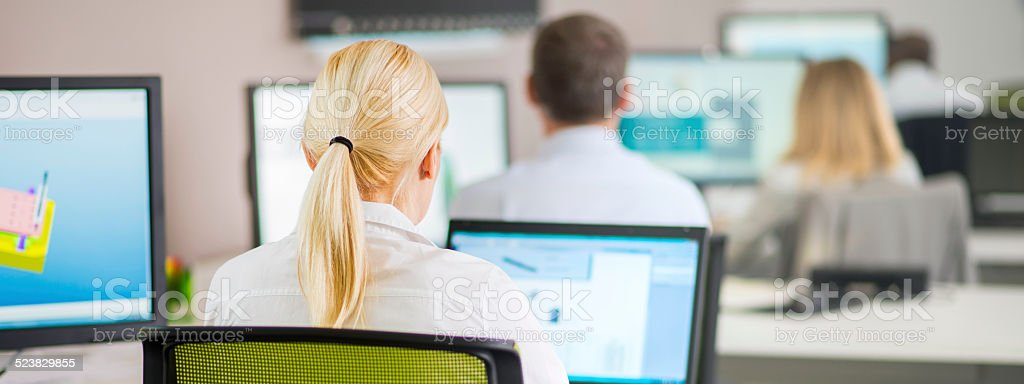 Rear View of Engineers Working on Computers stock photo