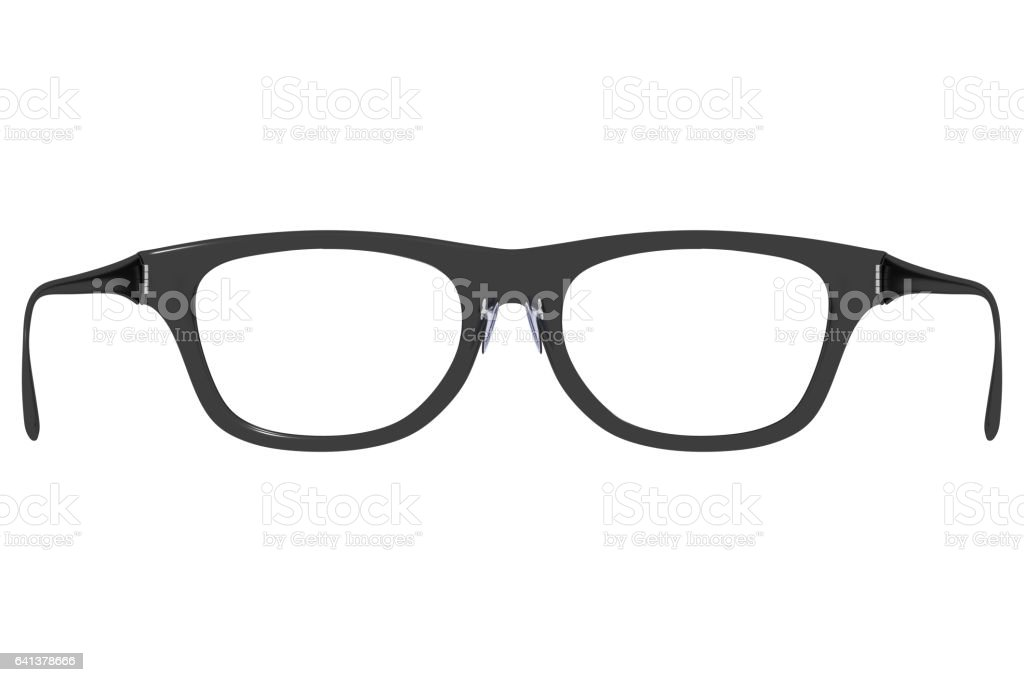 Rear view of eyeglasses as if you are wearing them stock photo
