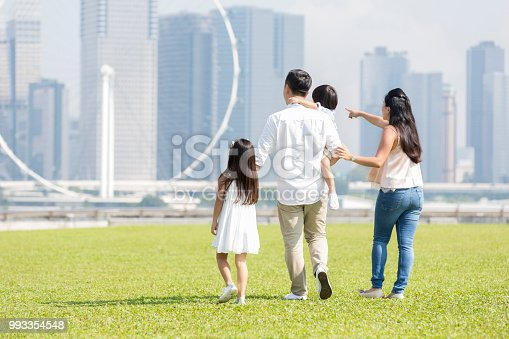 Mom and dad with their two children walk together in a city park. A city skyline and ferris wheel are in the background.