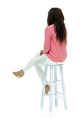 Rear view of fashionable woman sitting on stoolhttp://www.twodozendesign.info/i/1.png